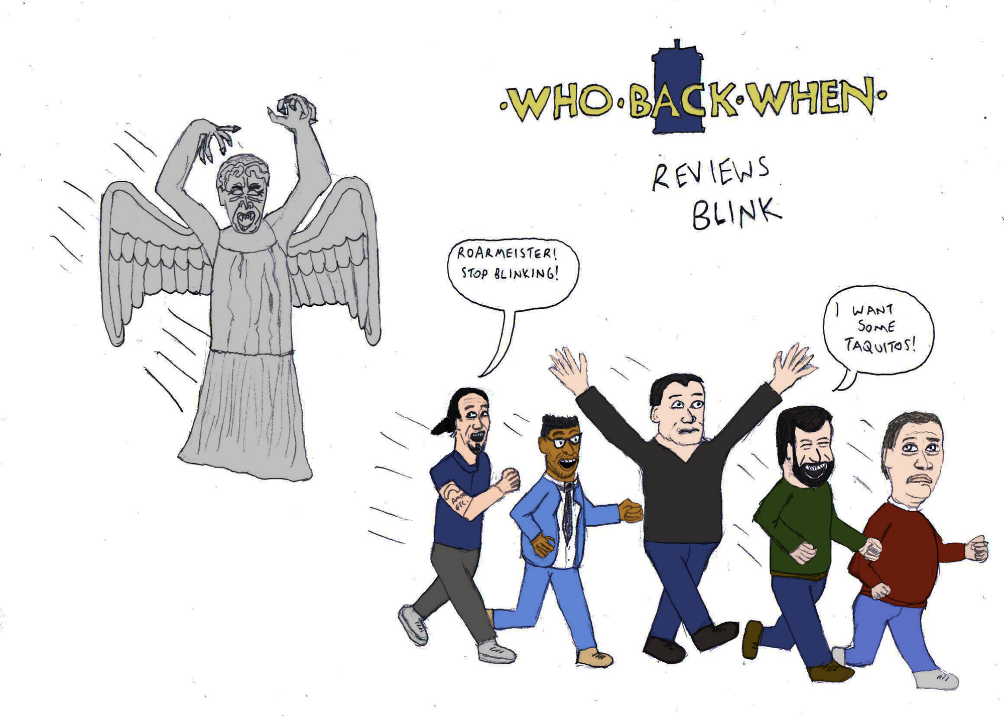 Dr Who Back When A Doctor Who Podcast Reviews Blink with Tennant cartoon by DrewBackWhen