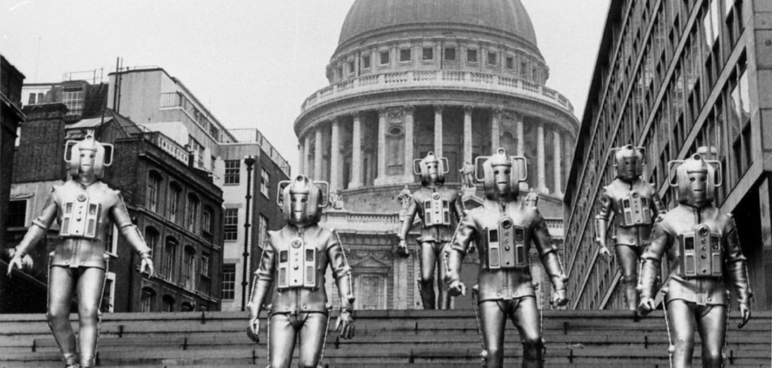 classic scene of cybermen at st pauls london in the invasion doctor who back when