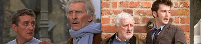 Bernard Cribbins' previous appearances with The Doctor: alongside Cushing in 1966, and Tennant in 2009/2010