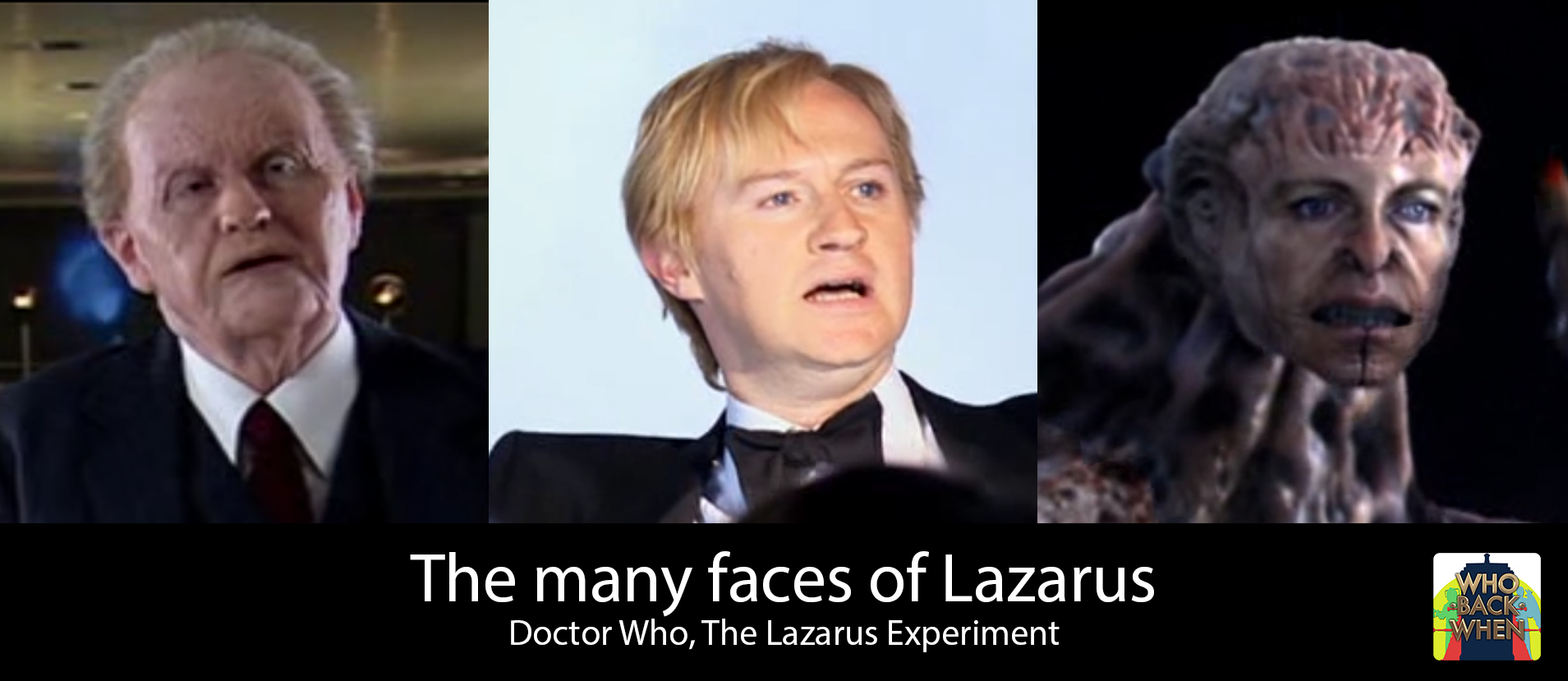 the different faces of Mark Gatiss as Professor Lazarus in Doctor Who