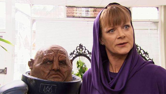 samantha bond as mrs wormwood with a sontaran in the sarah jane adventures doctor who spinoff