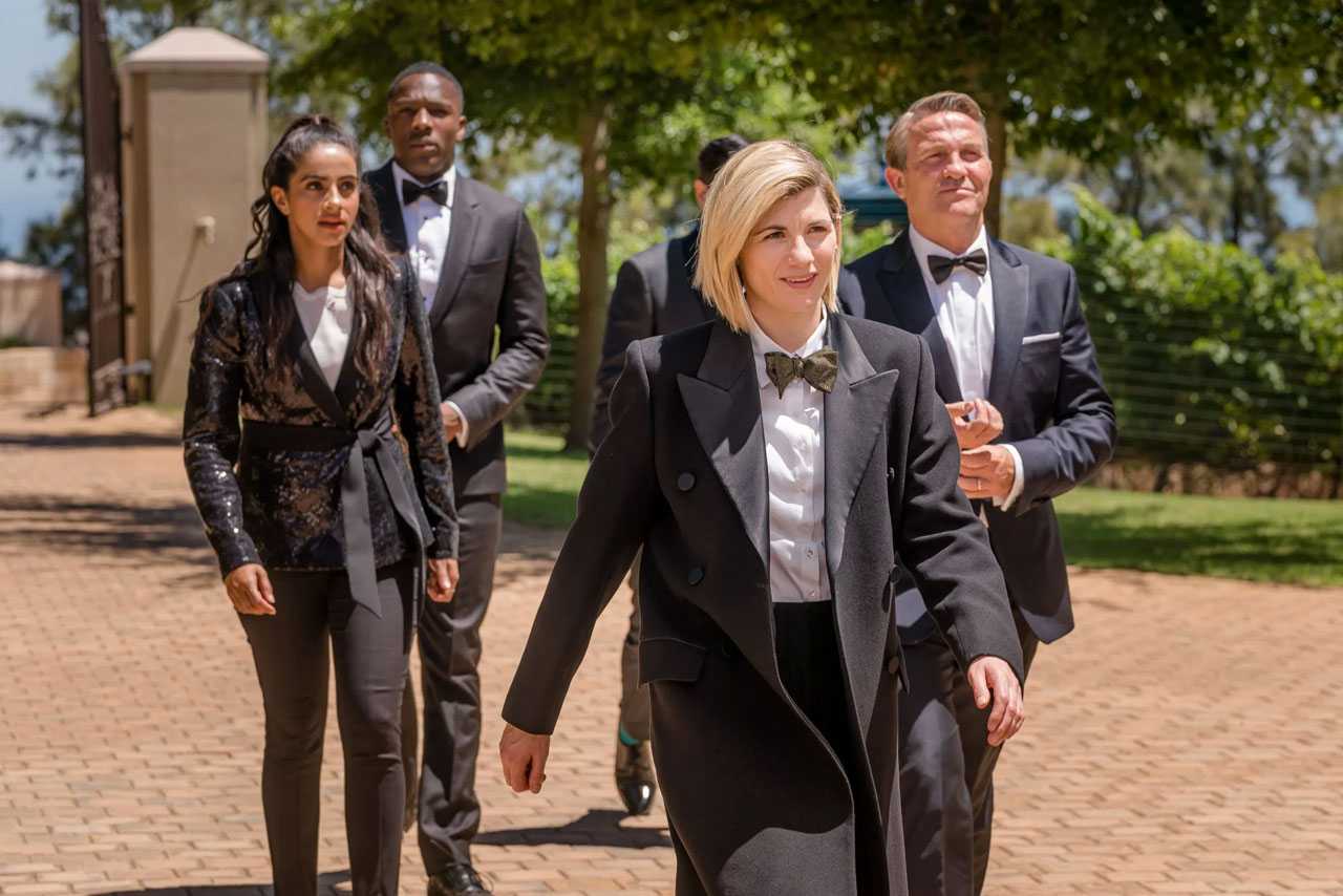 Jodie Whittaker as the Thirteenth Doctor with the TARDIS Team in Spyfall