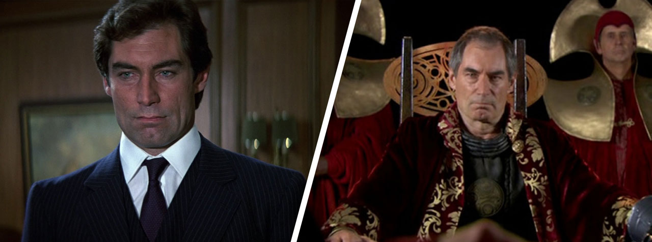 Timothy Dalton as James Bond and Rassilon